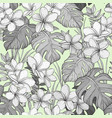 seamless pastel pattern with tropical leaves and vector image vector image