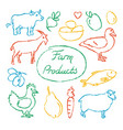 set farm food icons in sketch style vector image vector image