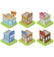 set of isometric buildings vector image vector image