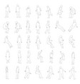set with outlines of people in different positions vector image vector image