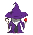 Simple cartoon wizard with staff Isolated on white vector image vector image