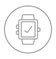 Smartwatch with check sign line icon vector image vector image