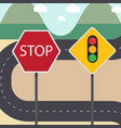 stop and traffic signs with street country road vector image vector image