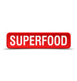 Superfood red 3d square button isolated on white vector image vector image