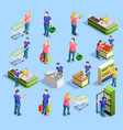 supermarket isometric elements collection vector image vector image