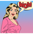 Surprised Woman Happy Girl Pin Up Girl vector image vector image