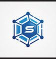 technology design orbit shape hexagon vector image vector image
