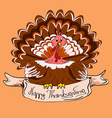 Thanksgiving card with turkey bird vector image