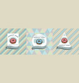 three colored labels with donut vector image