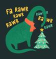 tyrannosaurus christmas tree rex card dinosaur vector image