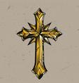 vintage gold elegant religious cross template vector image