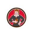 Vintage NZ Rugby Player Hold Ball Circle Cartoon vector image vector image