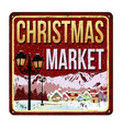 welcome to christmas market vintage rusty metal vector image vector image