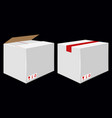 white cardboard close box side view package vector image vector image