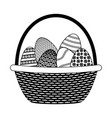 wicker basket happy easter vector image