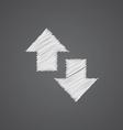 2 side arrow sketch logo doodle icon vector image