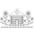 A graphic design house and stylized flowers vector image vector image