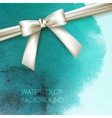 abstract watercolor background with white bow and vector image