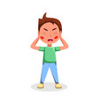 angry boy naughty hoodlum kid character cartoon vector image vector image