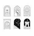 arch logos in linear style palm and nature vector image vector image