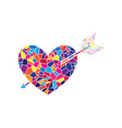 arrow heart sign stained glass icon on vector image