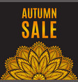 autumn sale orange black poster with mandala vector image
