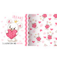 bear with heart - seamless pattern vector image vector image
