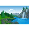 Beautiful Landscape With Waterfall vector image