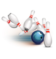 Bowling ball crashing into the pins vector | Price: 3 Credits (USD $3)