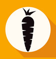 carrot icon on white circle with a long shadow vector image vector image