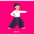 Cartoon kid wearing kimono martial art vector image vector image