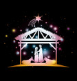 christmas card with holy family and animals in vector image