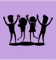 company of friends gives high five silhouette vector image vector image