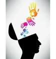 Conceptual of a open minded man The mental state vector image