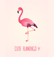 cute flamingo tropical pink bird girl card vector image vector image