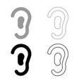 ear icon set grey black color vector image