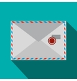 Envelope with stamp icon flat style vector image