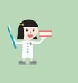 female dentist demonstrates brushing teeth model vector image vector image