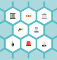 flat icons jail building warning strip and other vector image vector image