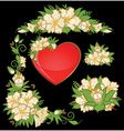 Flowers with heart vector image vector image