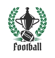Football championship icon with trophy and ball vector image
