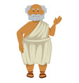 greek philosopher in robe and sandals isolated vector image vector image