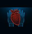 hands and human heart low poly design human organ vector image vector image