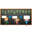 kids and numbers on blackboard vector image