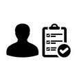 list icon male person profile avatar with survey vector image