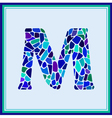 M - letter - Green Watercolor mosaic vector image vector image
