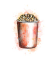 paper cup with popcorn from a splash watercolor vector image