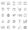 Post line icons on white background vector image vector image