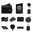 rest and travel black icons in set collection for vector image