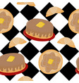 seamless pattern of breakfast foods on a cafe floo vector image